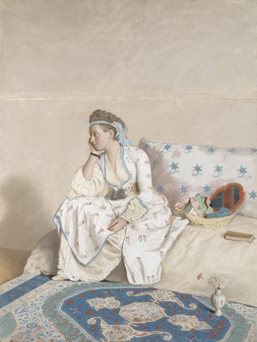 フリー絵画 ジーン・エティエン・リオタール作「画家の妻の肖像」