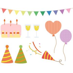 フリーイラスト, ベクター画像, AI, パーティー, 誕生日(バースデー), バースデーケーキ, フラッグガーランド, パーティークラッカー, シャンパン, 風船, パーティーハット