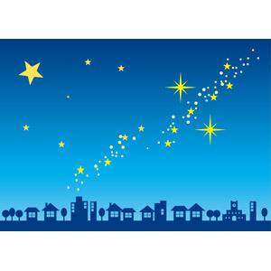 フリーイラスト, ベクター画像, AI, 風景, 街(町), 街並み(町並み), 夜, 夜空, 星(スター), 天の川