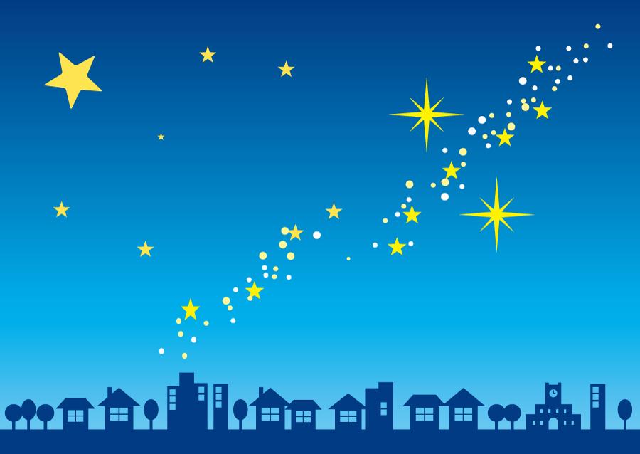 フリーイラスト 夜空に輝く天の川と街の風景