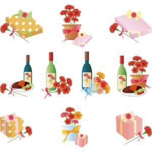 フリーイラスト, ベクター画像, AI, 年中行事, 母の日, 5月, 植物, 花, カーネーション, 赤色の花, プレゼント, 花束, プレゼント箱, ワイン, 料理, ステーキ