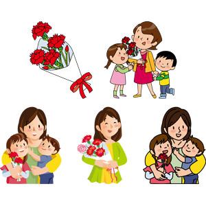フリーイラスト, ベクター画像, AI, 年中行事, 母の日, 5月, プレゼント, 人と花, カーネーション, 花束, 人物, 親子, 母親(お母さん), 子供, 兄妹(姉弟), 娘, 息子, 抱きしめる