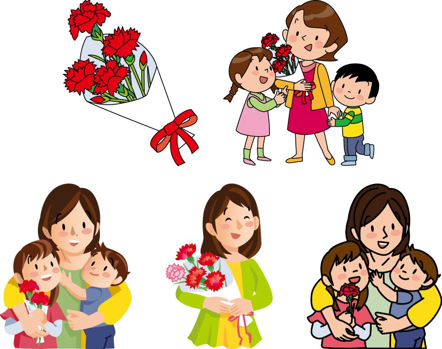 フリーイラスト 5種類のママにカーネーションを送る母の日のセット