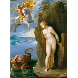 フリー絵画, ジュゼッペ・チェーザリ, 物語画, 神話, ギリシア神話, ペルセウス, アンドロメダ, 白馬, 乗馬, 拘束, 怪獣