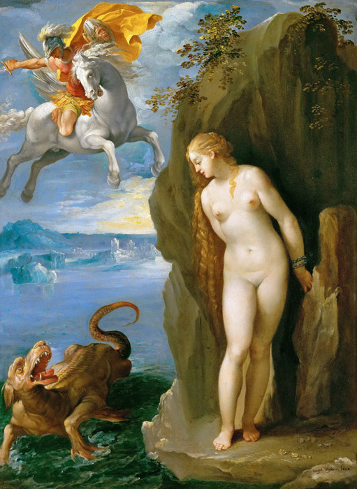 フリー絵画 ジュゼッペ・チェーザリ作「ペルセウスとアンドロメダ」