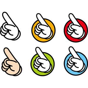 フリーイラスト, ベクター画像, EPS, 人体, 手, 指差す, 左上を指す, おすすめ