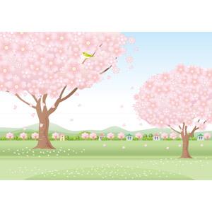 フリーイラスト, ベクター画像, AI, 風景, 田舎, 村, 樹木, 花, 桜(サクラ), 春, 花びら, 小鳥, 桜吹雪