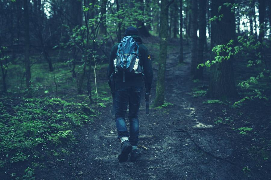 フリー写真 山登りしている男性の後ろ姿