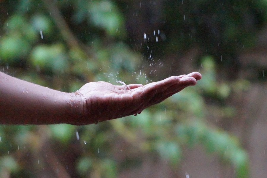 フリー写真 雨が手に当たってできる水しぶき