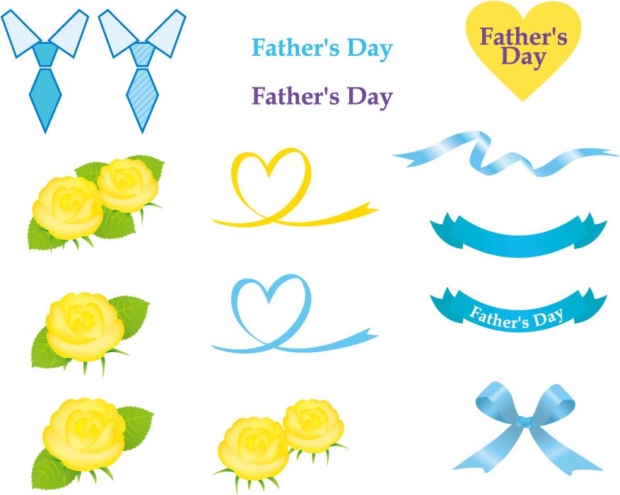 フリーイラスト 黄色の薔薇やリボンなどの父の日のセット