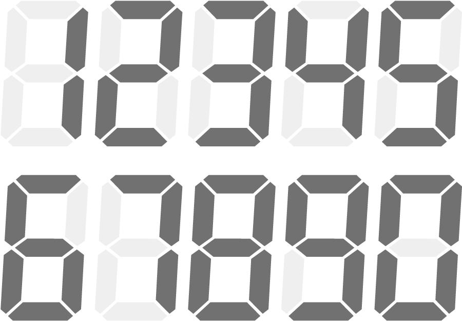 フリーイラスト デジタル数字のセット
