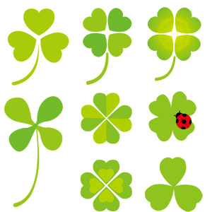 フリーイラスト, ベクター画像, EPS, 植物, 雑草, クローバー(シロツメクサ), 四つ葉のクローバー, 緑色(グリーン), てんとう虫(テントウムシ)