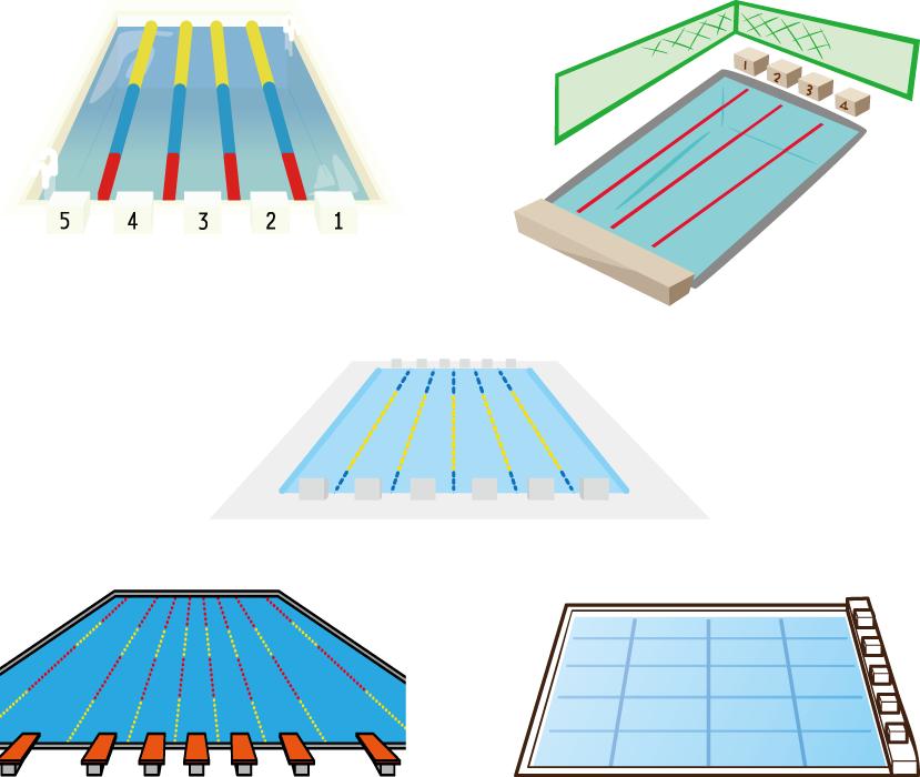 フリーイラスト 5種類の競泳プールのセット