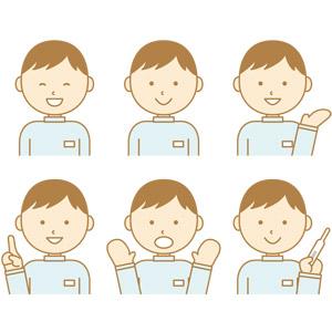 フリーイラスト, ベクター画像, AI, 人物, 男性, 仕事, 職業, 介護, 介護職員, 笑う(笑顔), 案内する, アドバイス, 指差す, 上を指す, 驚く, 体温計, 介護福祉士(ケアワーカー)