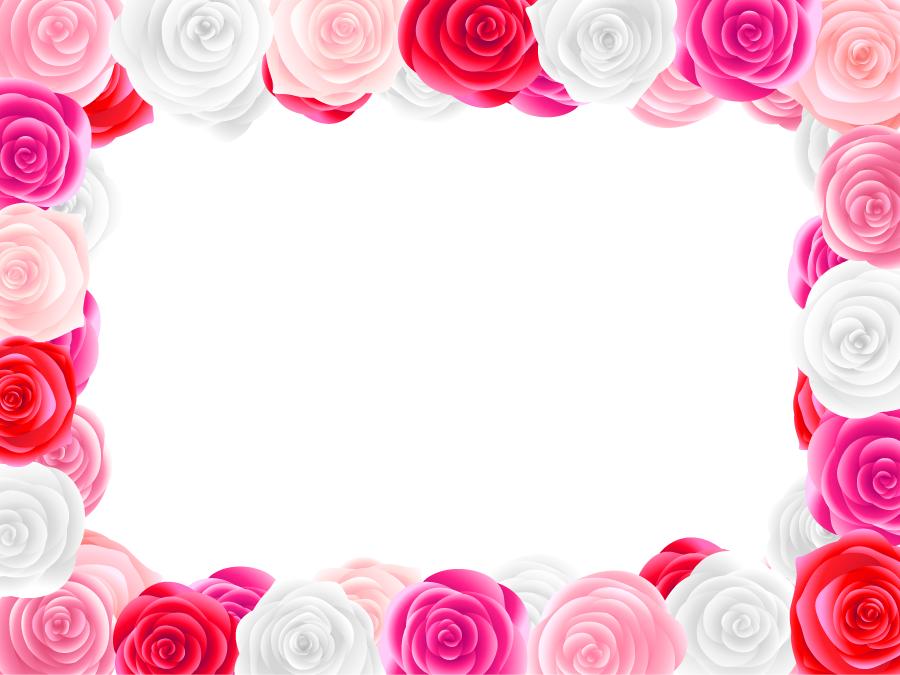 フリーイラスト 薔薇の花のフレーム