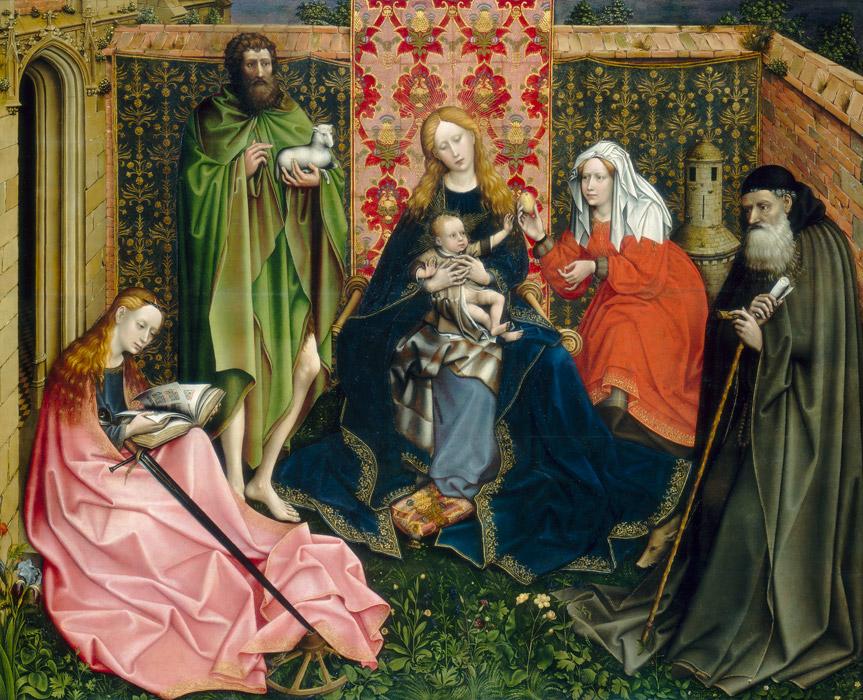 フリー絵画 ロベルト・カンピン作「聖者と聖母子」