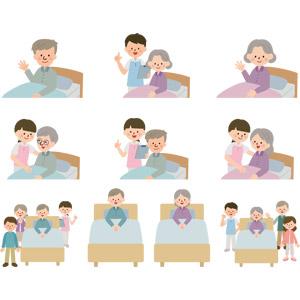 フリーイラスト, ベクター画像, AI, 人物, 老人, 祖父(おじいさん), 祖母(おばあさん), シニア男性, シニア女性, ベッド, 老人ホーム(介護施設), 介護, 介護職員, 介護福祉士(ケアワーカー), お見舞い, 家族, 手を振る