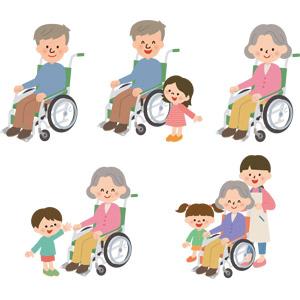 フリーイラスト, ベクター画像, AI, 人物, 老人, 祖父(おじいさん), 祖母(おばあさん), シニア男性, シニア女性, 車椅子, 医療機器(医療器具), 福祉用具, 介護, 孫, 介護職員, 介護福祉士(ケアワーカー), 訪問介護員(ホームヘルパー)