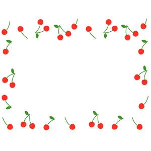 フリーイラスト, ベクター画像, AI, 背景, フレーム, 囲みフレーム, 食べ物(食料), 果物(フルーツ), さくらんぼ(サクランボ)