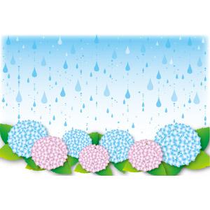 フリーイラスト, ベクター画像, AI, 背景, 天気, 雨, 梅雨, 6月, 植物, 花, 紫陽花(アジサイ)