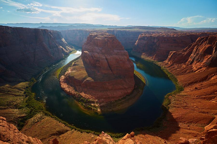 フリー写真 コロラド川とホースシューベンドの風景