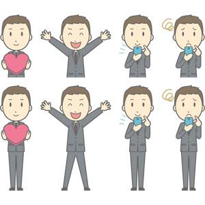 フリーイラスト, ベクター画像, AI, 人物, 男性, 男性(00179), ビジネス, 仕事, 職業, ビジネスマン, サラリーマン, メンズスーツ, ハート, 万歳(バンザイ), 喜ぶ(嬉しい), スマートフォン(スマホ), 困る