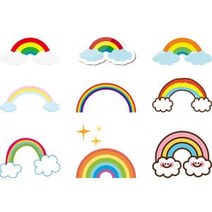 フリーイラスト, ベクター画像, AI, 自然, 虹, 雲, 夏