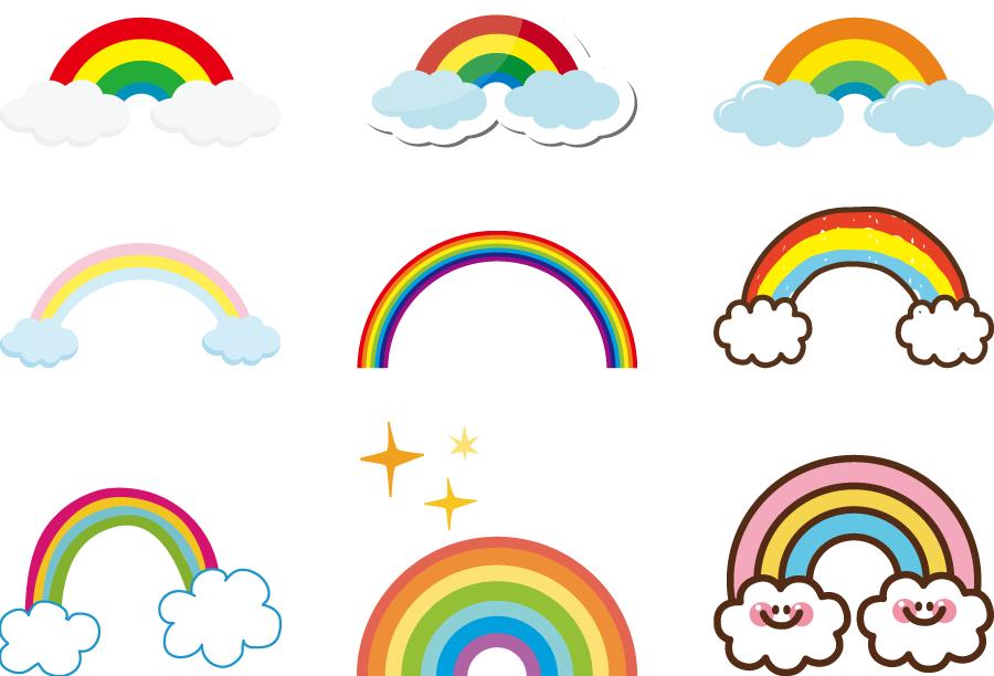 フリーイラスト 9種類の虹のセット