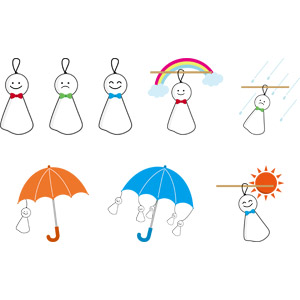 フリーイラスト, ベクター画像, AI, 人形, てるてる坊主, 6月, 梅雨, 天気, 雨, 虹, 晴れ, 傘