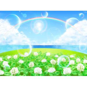 フリーイラスト, 風景, 自然, 夏, 虹, 雲, 積乱雲(入道雲), 青空, 海, 植物, 雑草, クローバー(シロツメクサ), 白色の花, 太陽光(日光), しゃぼん玉(シャボン玉)