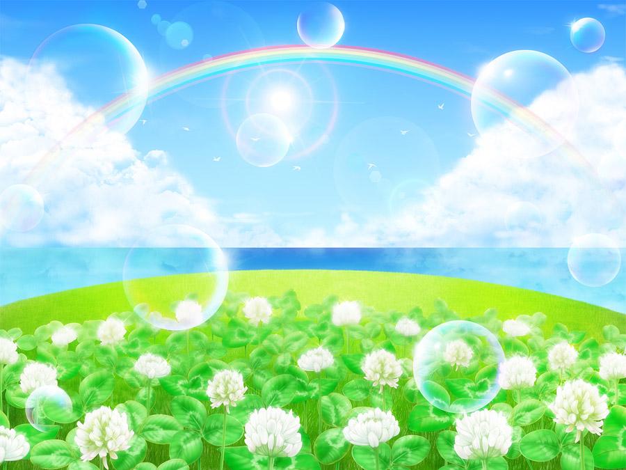 フリーイラスト 白詰草と虹としゃぼん玉の風景