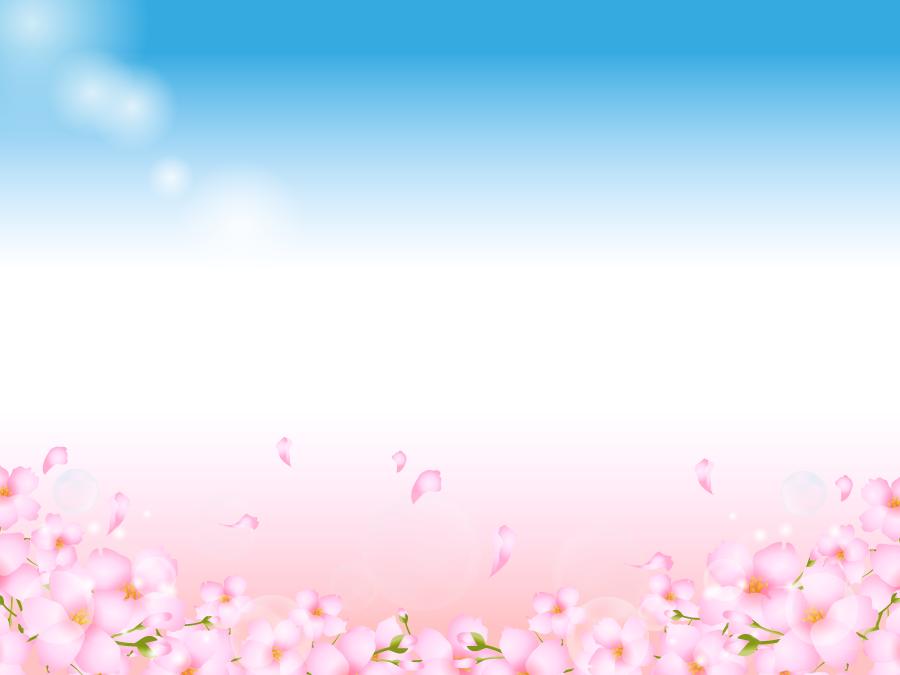 フリーイラスト 青空とサクラの花と花びらの背景