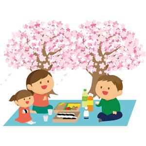 フリーイラスト, ベクター画像, AI, 年中行事, 花見, 桜(サクラ), 宴会, 3月, 4月, 人物, 家族, 父親(お父さん), 母親(お母さん), 子供, 娘, 春, お弁当, 日本酒