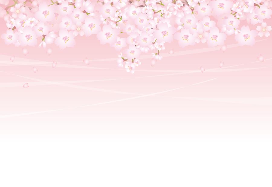 フリーイラスト さくらの花と舞い散る花びらの背景