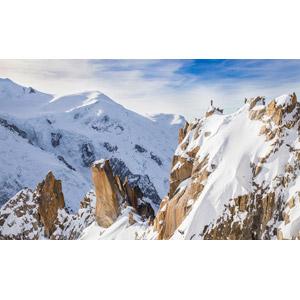 フリー写真, 風景, 山, アルプス山脈, 雪, 人と風景, 登山, フランスの風景, シャモニー, モンブラン(山)