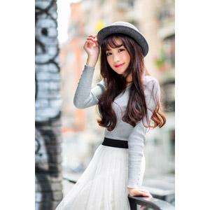 フリー写真, 人物, 女性, アジア人女性, 楚珊(00053), 中国人, 帽子, ボーラー帽