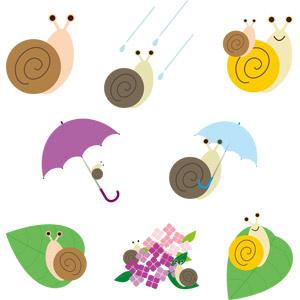 フリーイラスト, ベクター画像, AI, 動物, 貝類, カタツムリ, 親子(動物), 雨, 傘, 紫陽花(アジサイ), 梅雨, 6月
