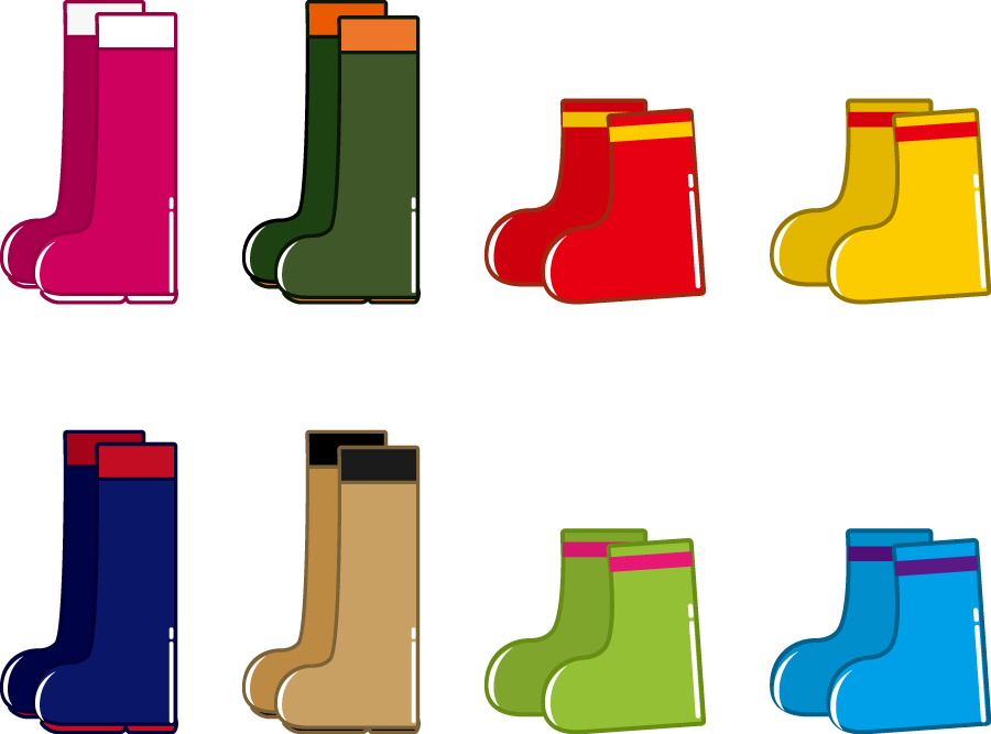 フリーイラスト 8種類の長靴のセット