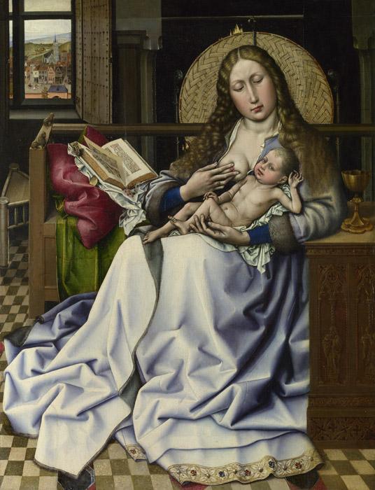 フリー絵画 ロベルト・カンピン作「暖炉衝立の前の聖母子」