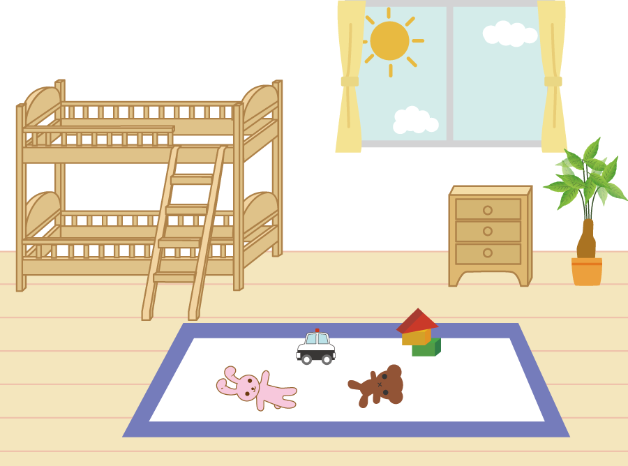 フリーイラスト おもちゃが置かれた子供部屋の風景