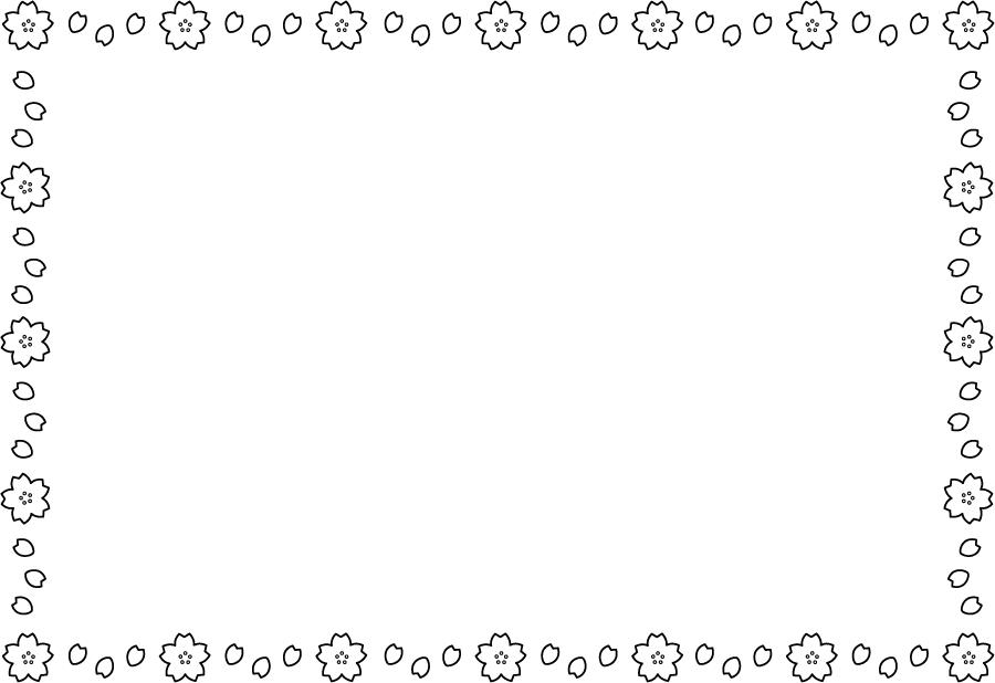 フリーイラスト 白黒のさくらの花のフレーム
