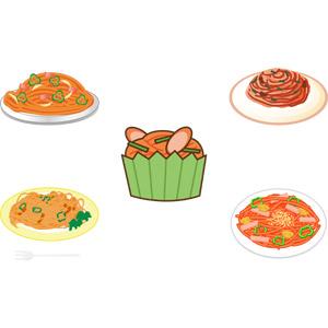 フリーイラスト, ベクター画像, AI, 食べ物(食料), 料理, 麺類, パスタ, スパゲッティ, 日本料理, 洋食, ナポリタン