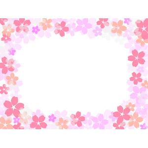 フリーイラスト, ベクター画像, EPS, 背景, フレーム, 囲みフレーム, 花柄, 桜(サクラ), 春