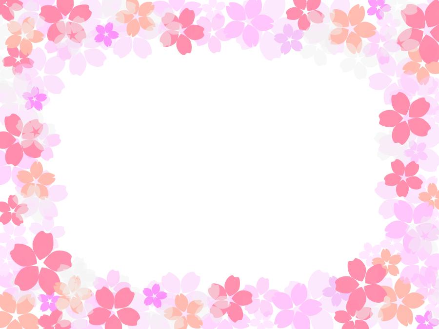 フリーイラスト さくらの花柄の囲みフレーム