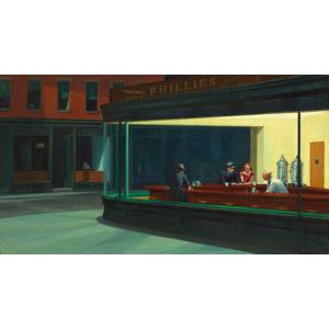 フリー絵画, エドワード・ホッパー, 風俗画, 夜, 飲食店, レストラン, カップル