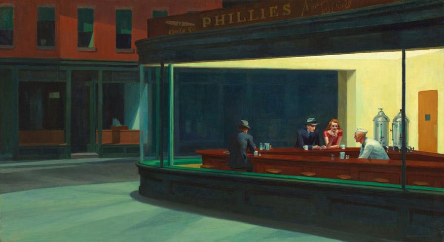 フリー絵画 エドワード・ホッパー作「ナイトホークス」