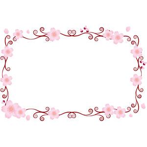 フリーイラスト, ベクター画像, EPS, 背景, フレーム, 囲みフレーム, 唐草模様, 花, 桜(サクラ), 春, 花びら, 蕾(つぼみ), ピンク色の花