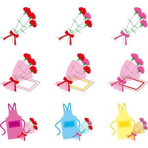 フリーイラスト, ベクター画像, AI, 年中行事, 母の日, 5月, 花, カーネーション, 花束, プレゼント, メッセージカード, エプロン