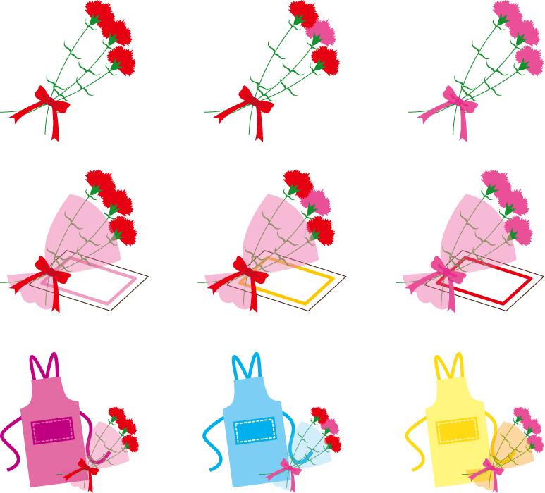 フリーイラスト 9種類のカーネーションの花束のプレゼントのセット