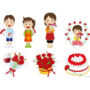 フリーイラスト, ベクター画像, AI, 年中行事, 母の日, 5月, 花, カーネーション, 花束, プレゼント, 親子, 母親(お母さん), 子供, 息子, 娘, ワイン, 赤ワイン, ショートケーキ, ケーキ, ありがとう